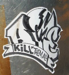 KILL THEM ALL streetart sticker zurich switzerland.