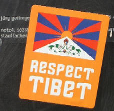 respect tibet sticker in zurich switzerland