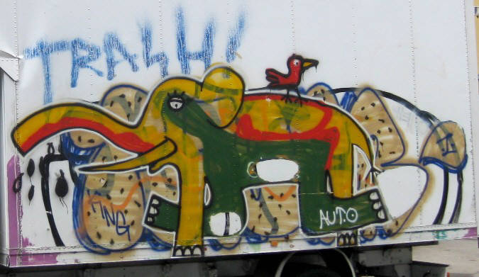 the legendary elephant graffiti by Zurich's youngest graffiti crew 'AUTOKIDS'. On a white delivery truck. Autokids were busted by Zurich Switzerland police in autumn 2008.
