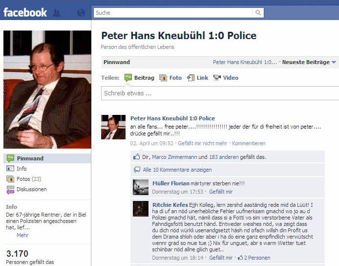PETER HANS KNEUBÜHL FANSEITE IN FACEBOOK IM INTERNET